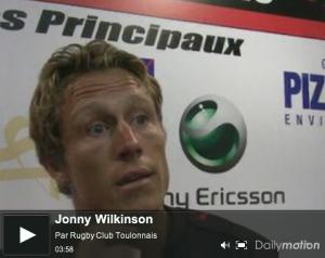 Jonny Wilkinson réagit après la victoire du RCT sur BRIVE