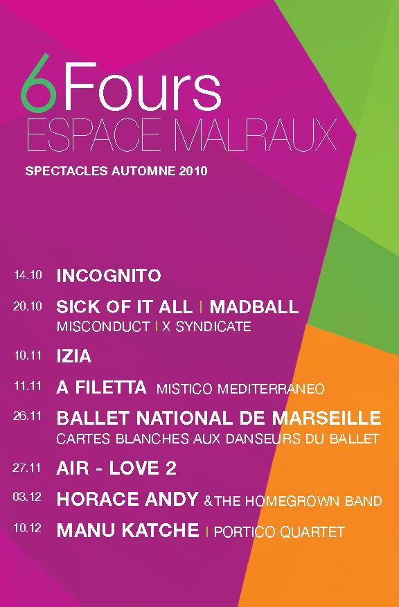 Programmation concerts Espace Malraux automne 2010